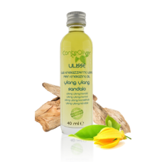 Olio da Massaggio Energizzante con Olio di Noccioli di Albicocche, Oli Essenziali di Limone,  Ylang-Ylang, Pino Silvestre e Sandalo Indiano – ULISSE  Olio 40 ml